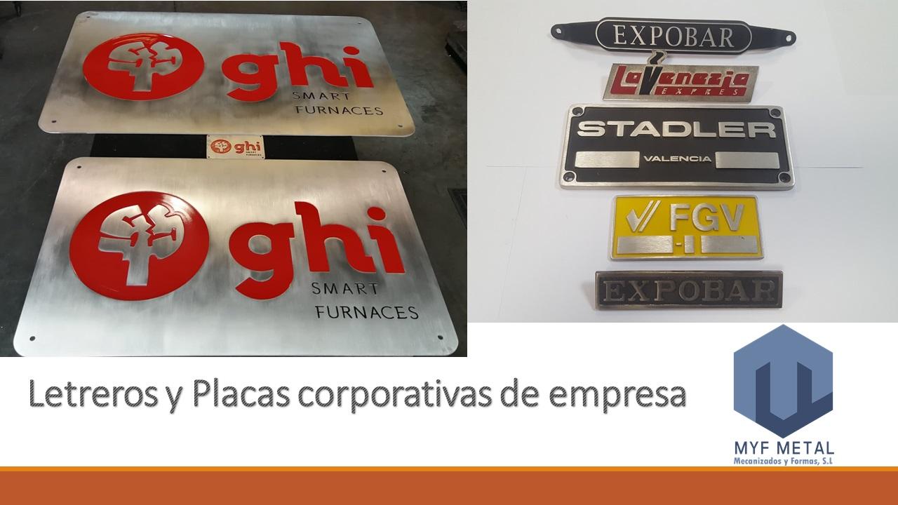 Letreros y placas corporativas de empresa en Mecanizados y Formas_MyF